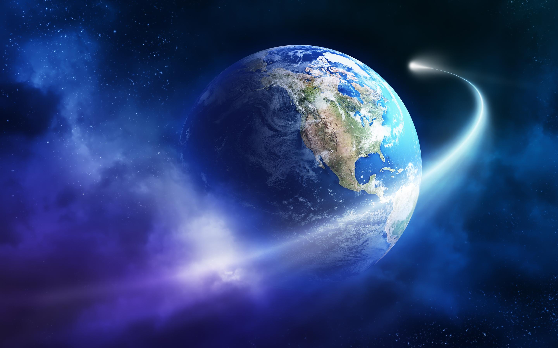 Planet Earth Asteroid Space HD Wallpaper 4749   HD Desktop Wallpapers 2880x1800