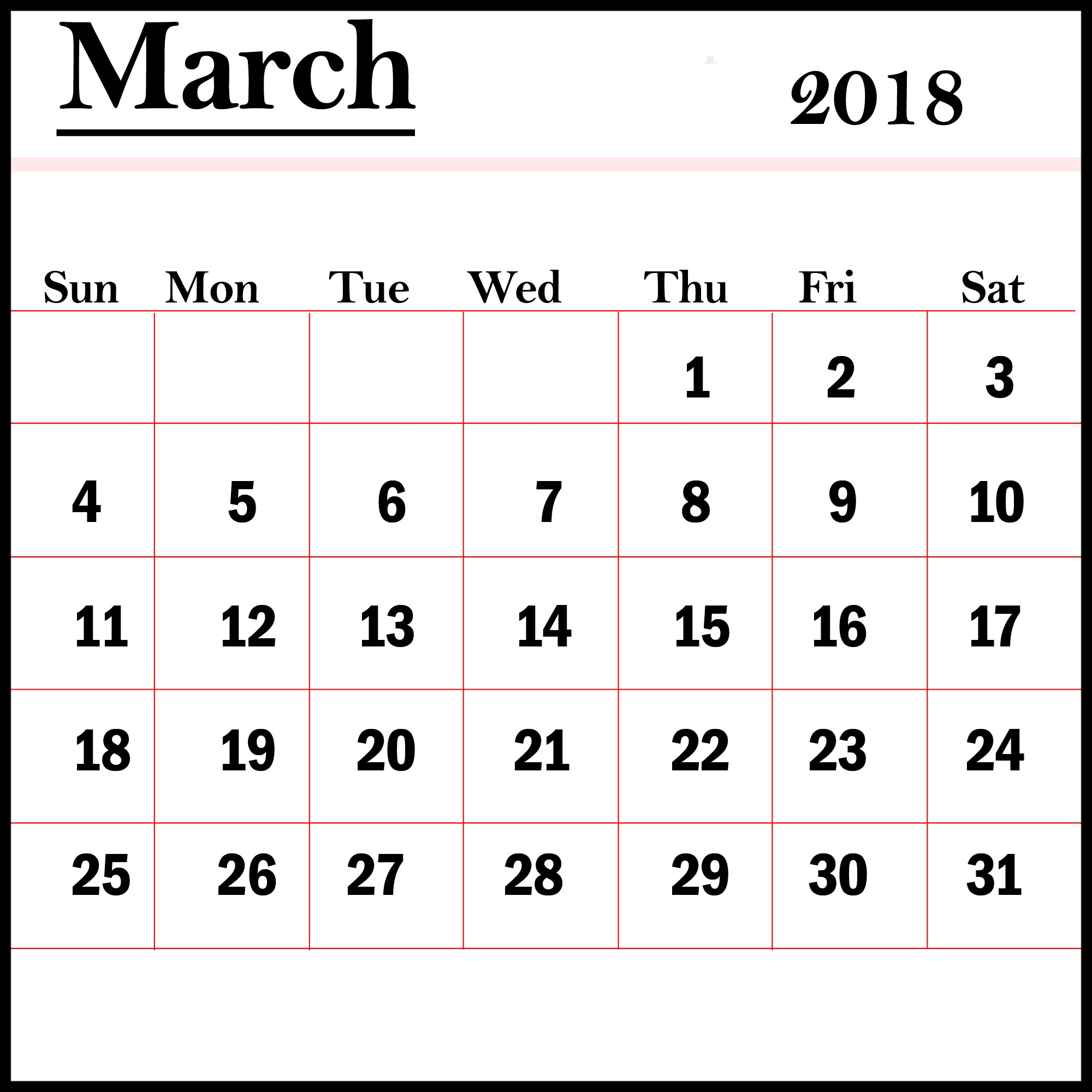 March 2018 Printable Calendar Latest HD Pictures Images 2000x2000