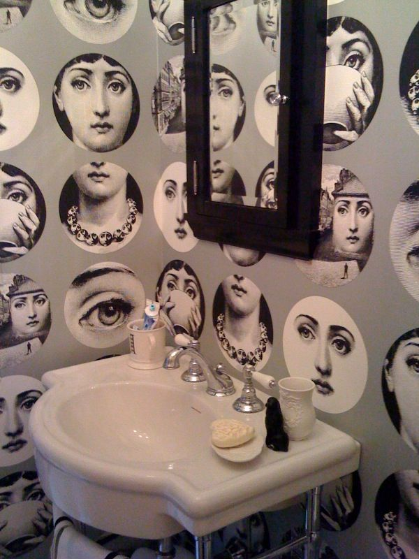 Fornasetti wallpaper Cole Son Bathroom Design Pinterest 600x800