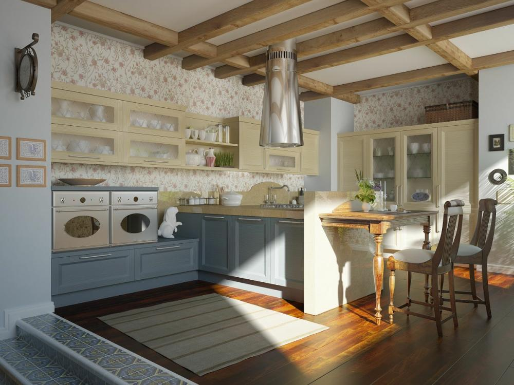 Traditional Kitchen with Floral Wallpaper 1000x750