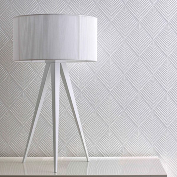 Jana Paintable Wallpaper   White Geometric Wall Coverings by Graham 600x600
