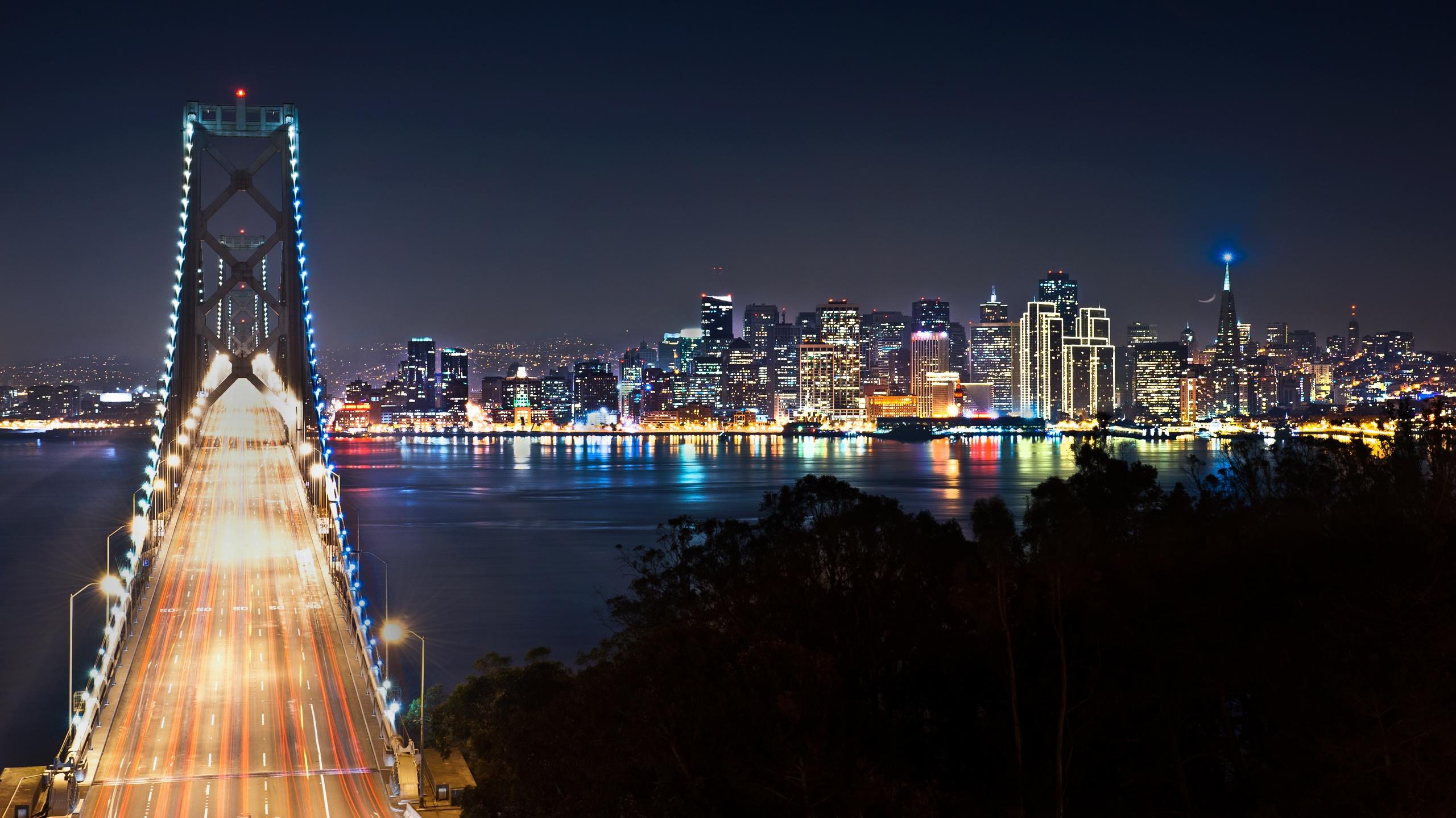 san francisco at night cityscape wallpaper Desktop 2560x1440