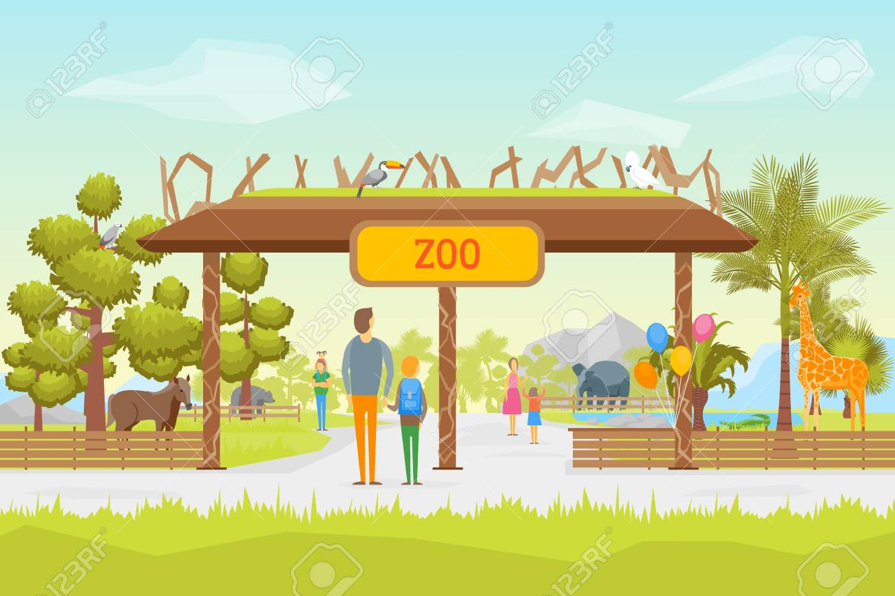 Cartoon Zoo Entrance Panorama Background Card Children And Parents 1300x866