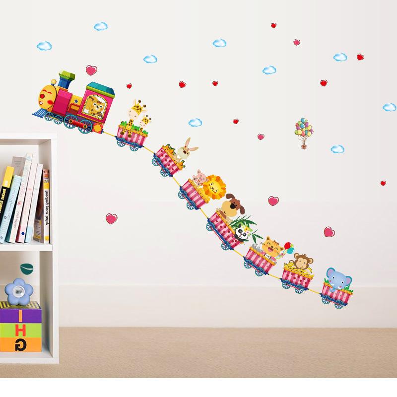 Cartoon train kindergarten wall decoration wallpaper stickers baby 800x800