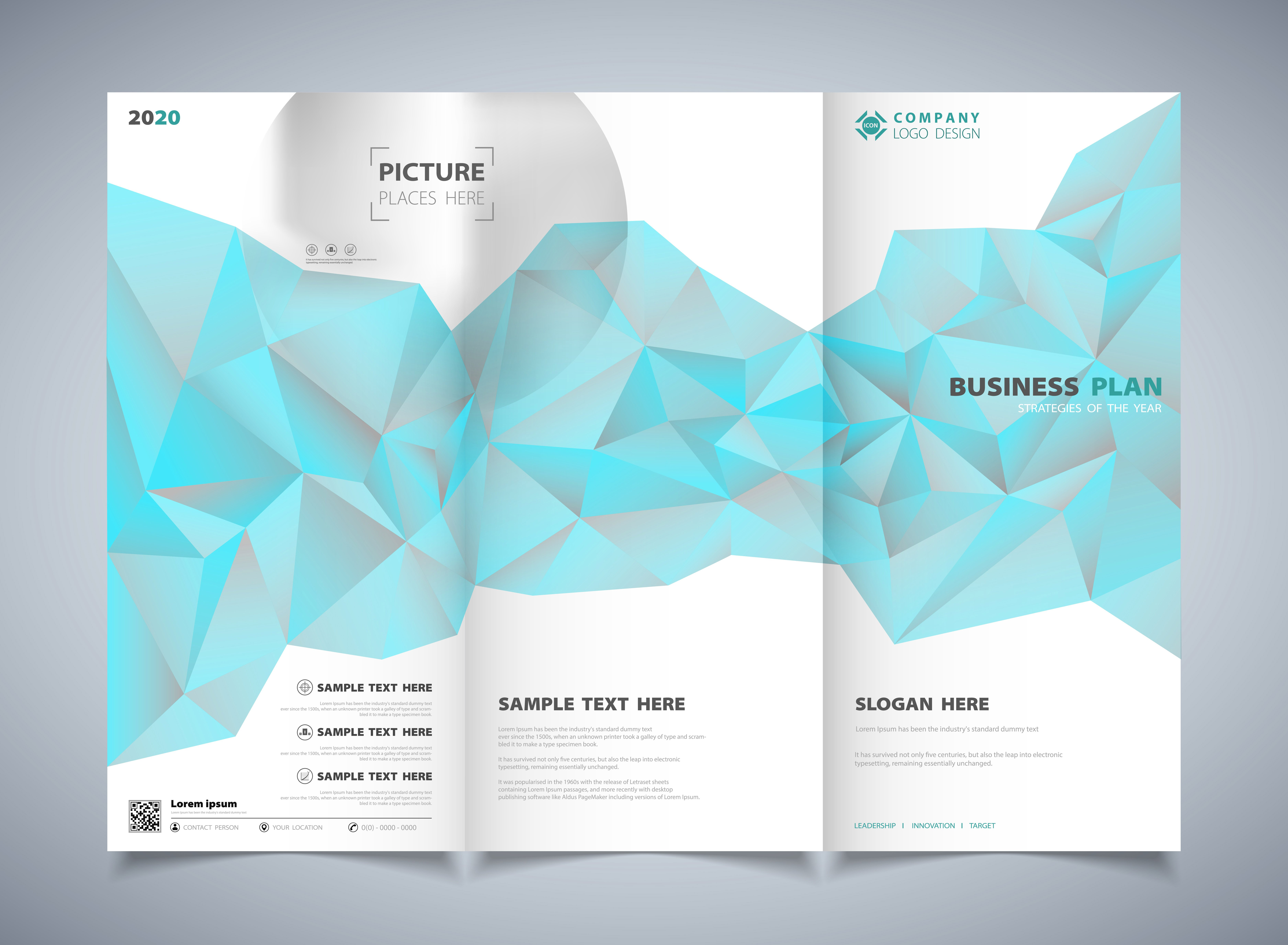 Abstract polygon blue color of brochure template design background 7500x5500