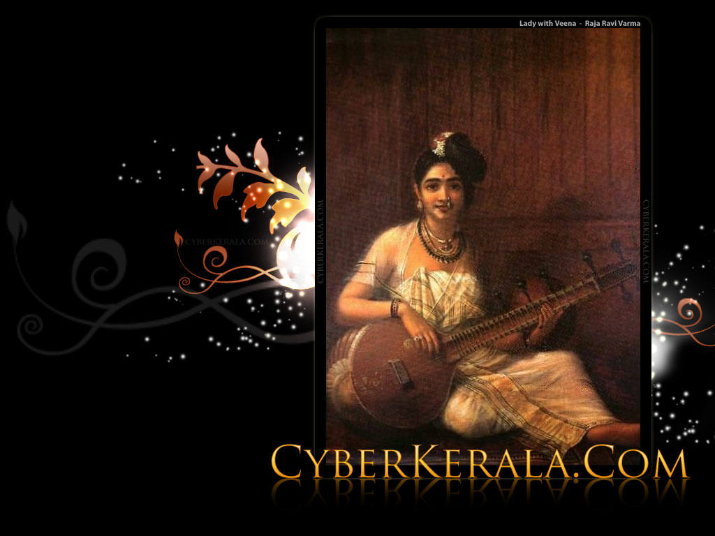 Wallpaper for Standard Screen Monitors   5 Lady with Veena   Oil 1024x768