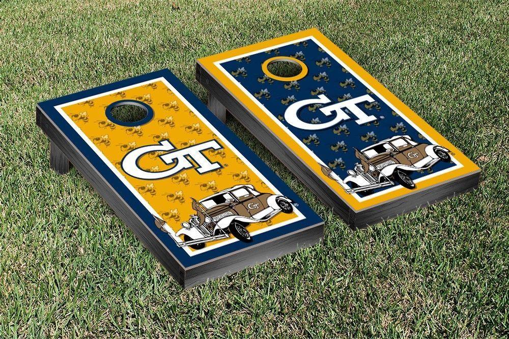 Georgia Tech Yellow Jackets Repeat Logo Wallpaper Cornhole Set 1000x667