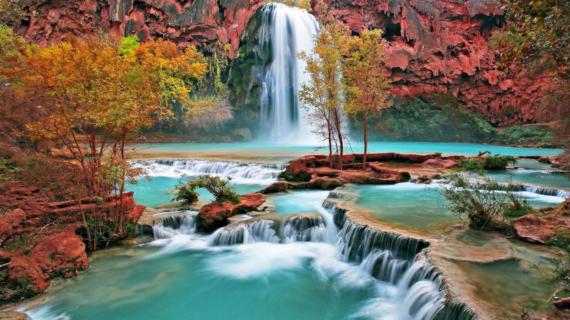 Beautiful autumn waterfall wallpaper hd 1080p hd desktop fond ecran hd 1920x1080