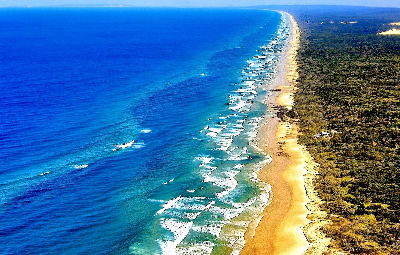 Wallpaper sand sea wave shore vegetation Australia QLD 1332x850