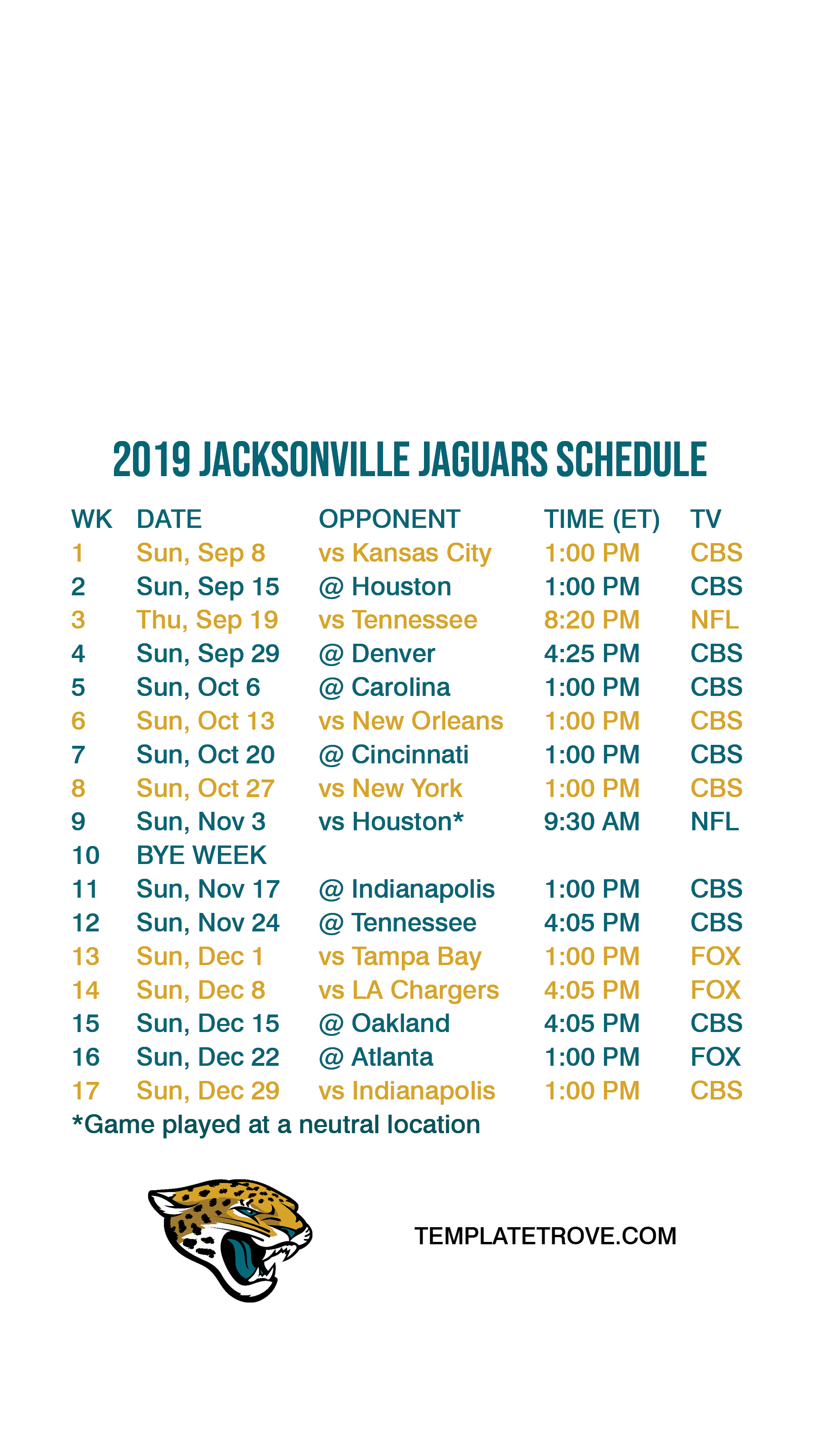 2019 2020 Jacksonville Jaguars Lock Screen Schedule for iPhone 6 7 1725x3067