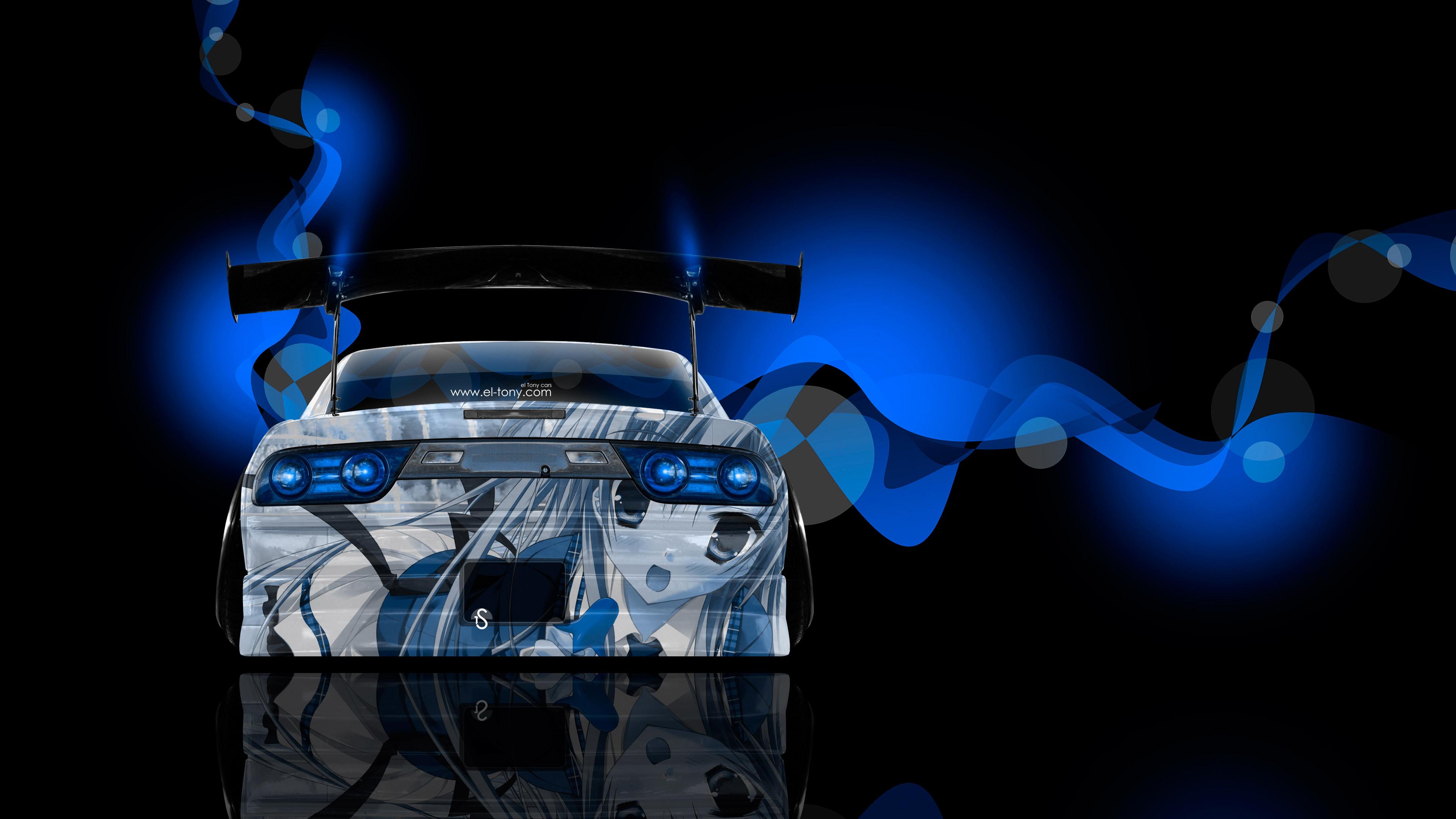 180SX JDM Back Anime Girl Aerography Car 2014 Blue Neon Effects 4K 3840x2160