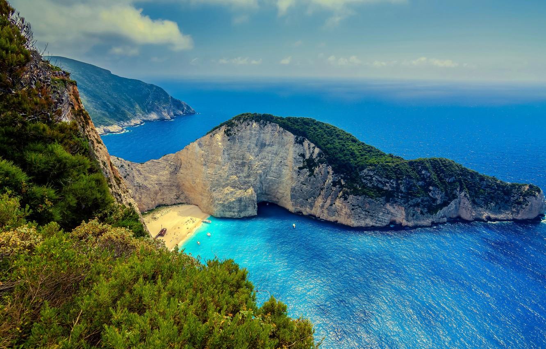 Wallpaper sea beach the sky rocks coast island Greece 1332x850