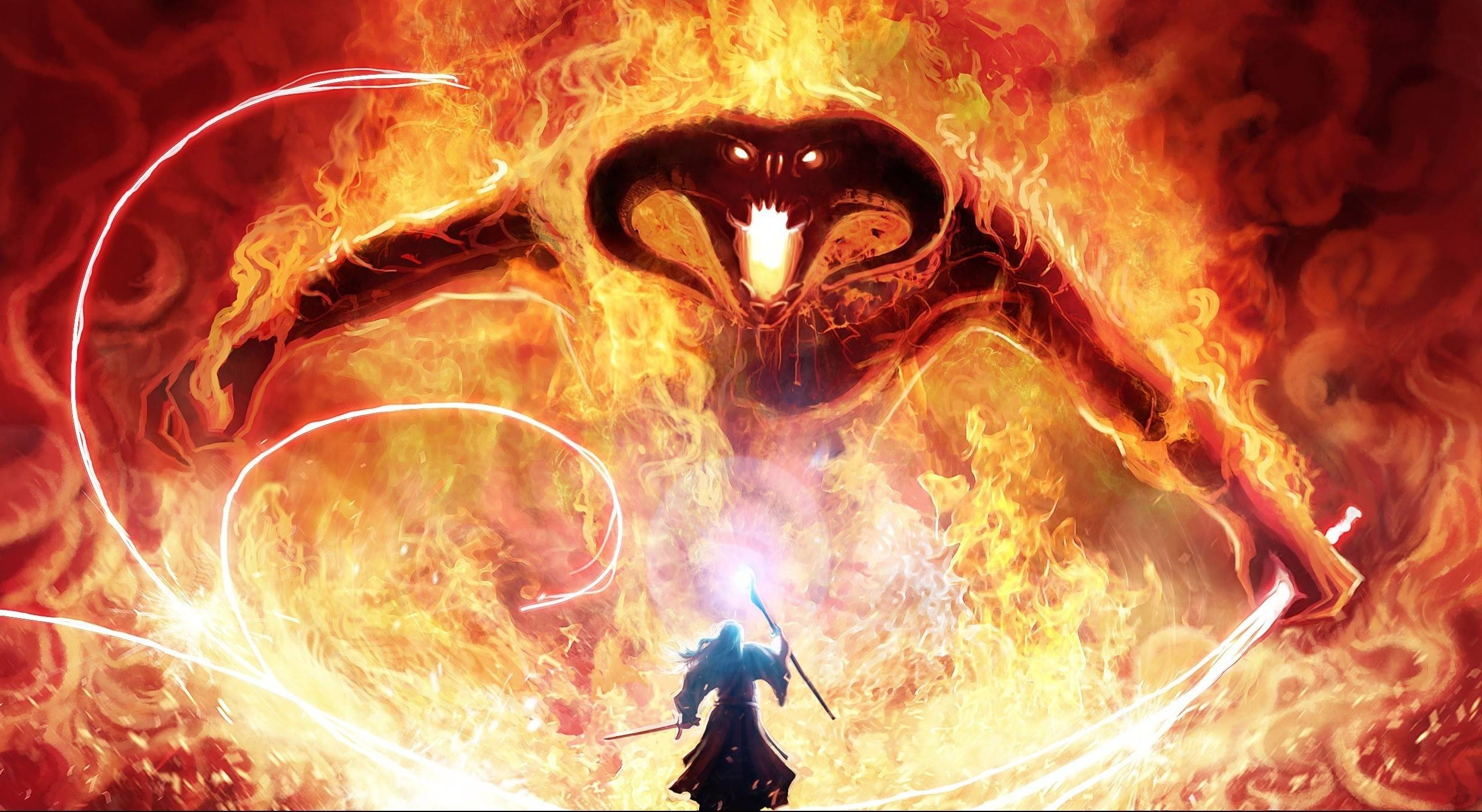 fantasy Art The Lord Of The Rings Balrogs Gandalf 2500x1370