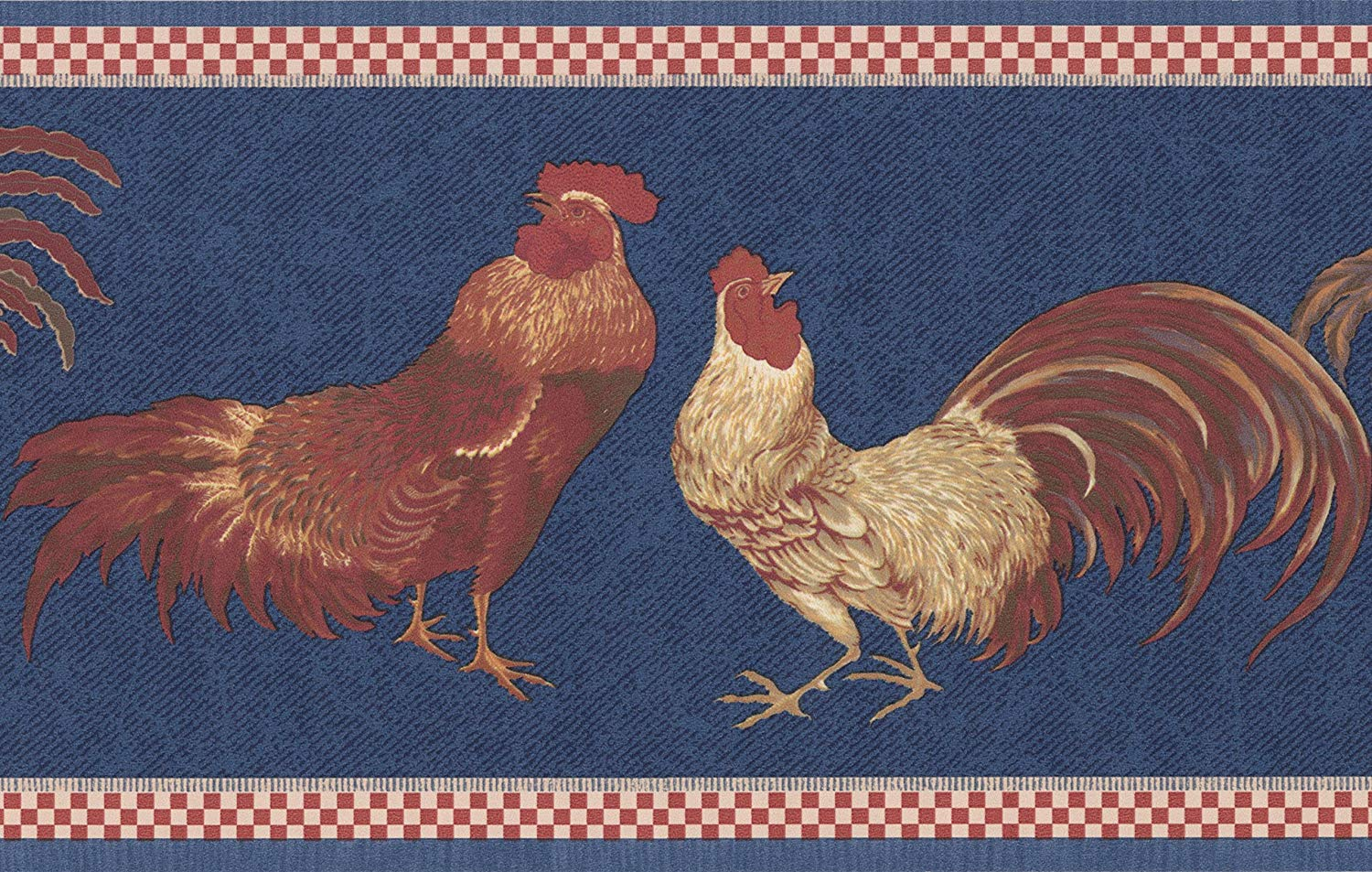 Beige Red Rooster Blue Wallpaper Border Retro Design Roll 15 x 7 1500x953