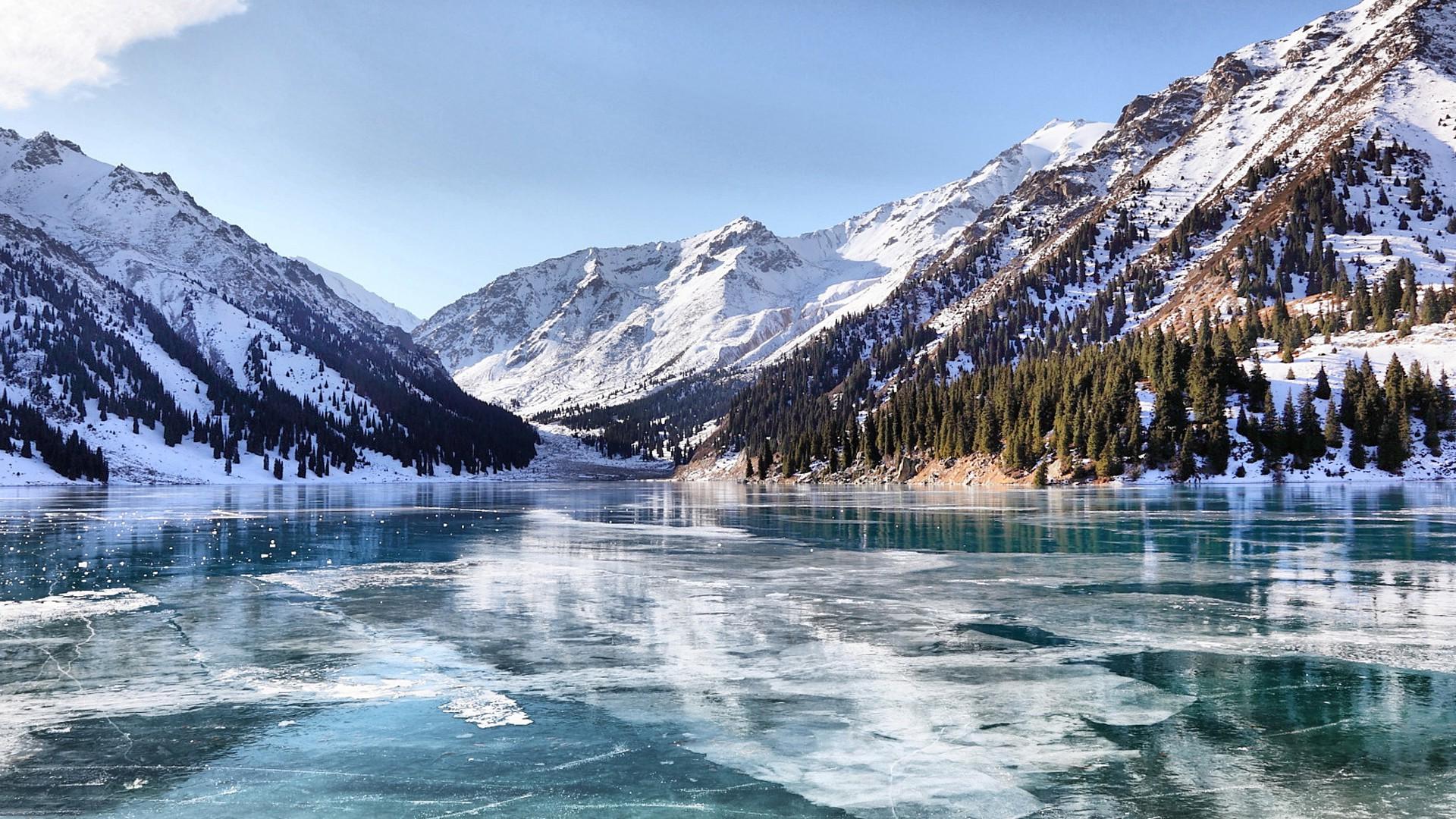 snow Lake Frozen Lake Kazakhstan Ice Mountain Landscape 1920x1080