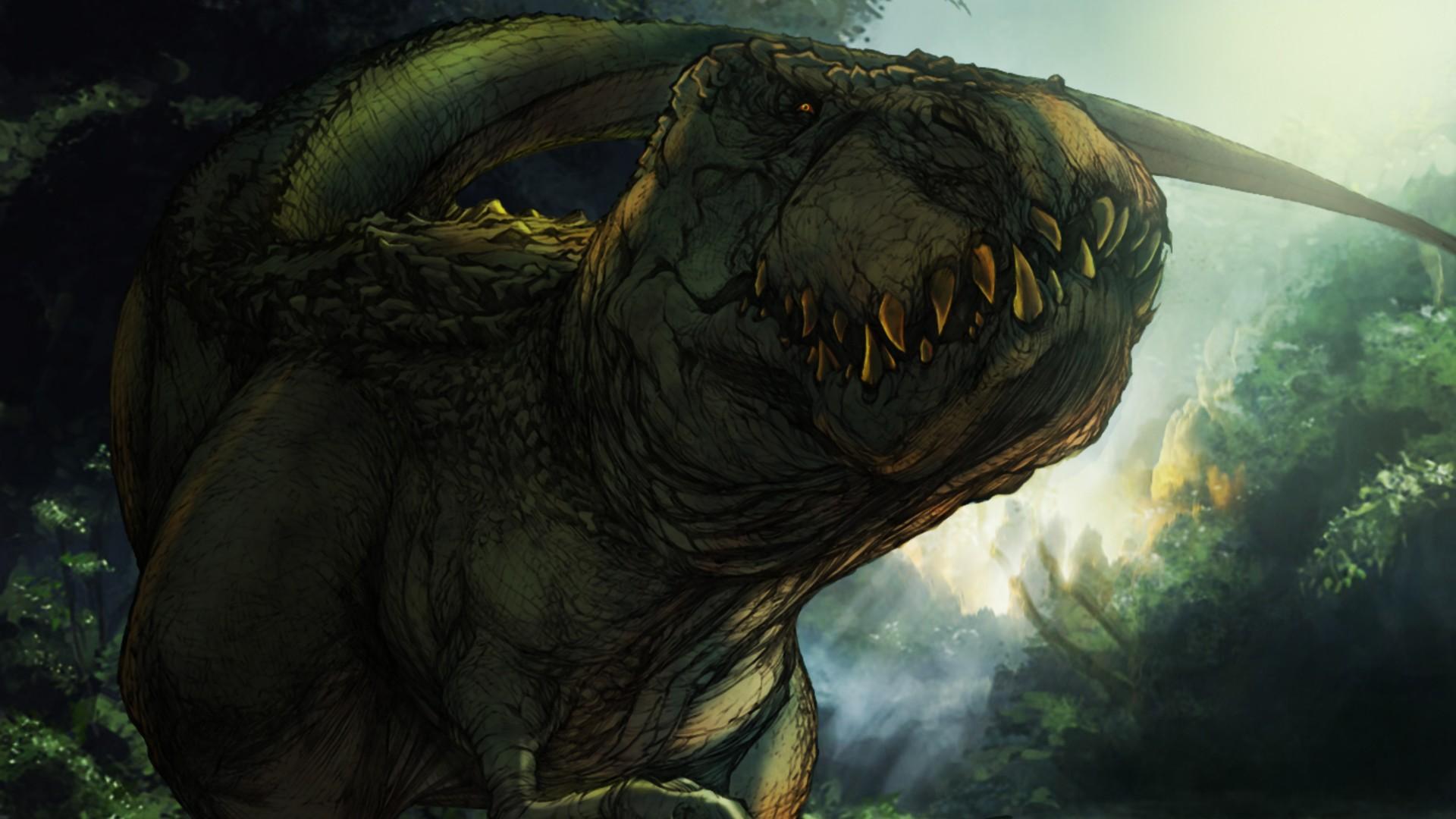 t rex illustration wallpaper background 1920x1080