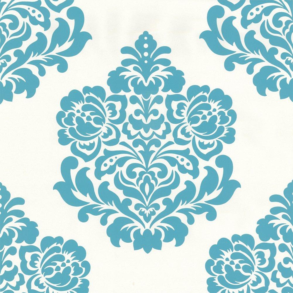 Selection Bold Damask Designer Feature Wallpaper Teal Cream eBay 1000x1000