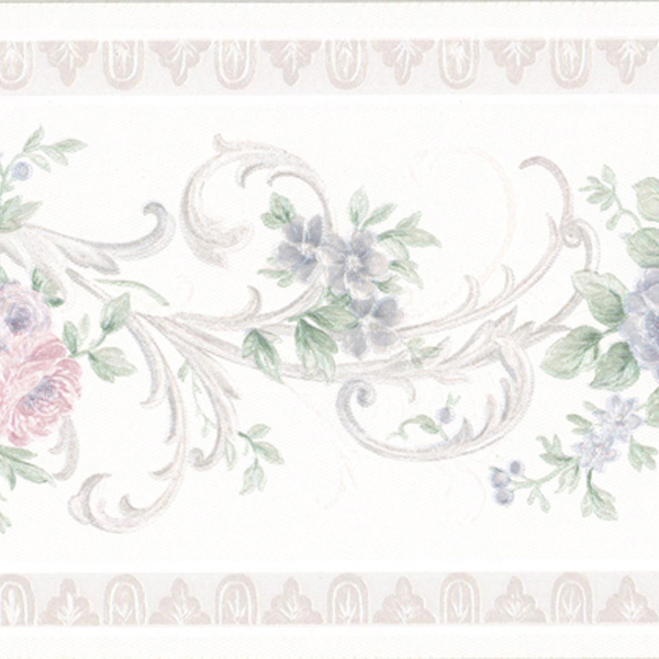 451 1813 White Scroll Floral   Brewster Wallpaper Borders 600x600