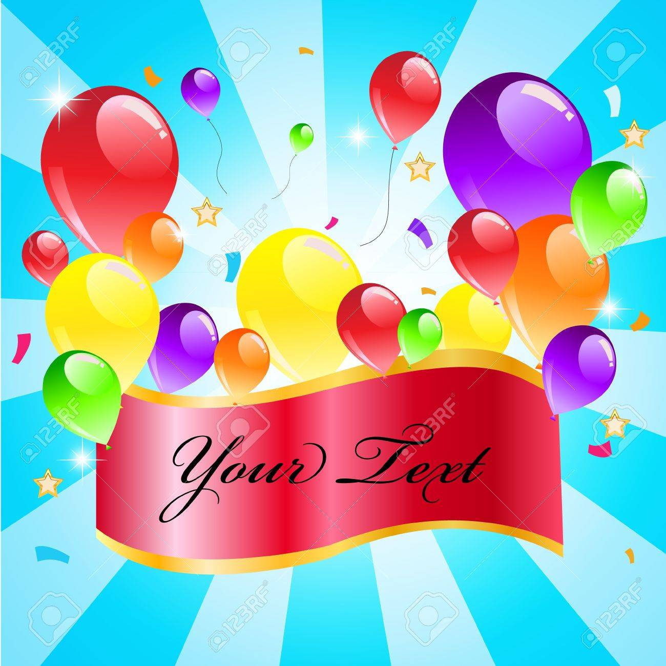 Colorful Balloon On Blue Background With Sample Text Happy Party 1300x1300