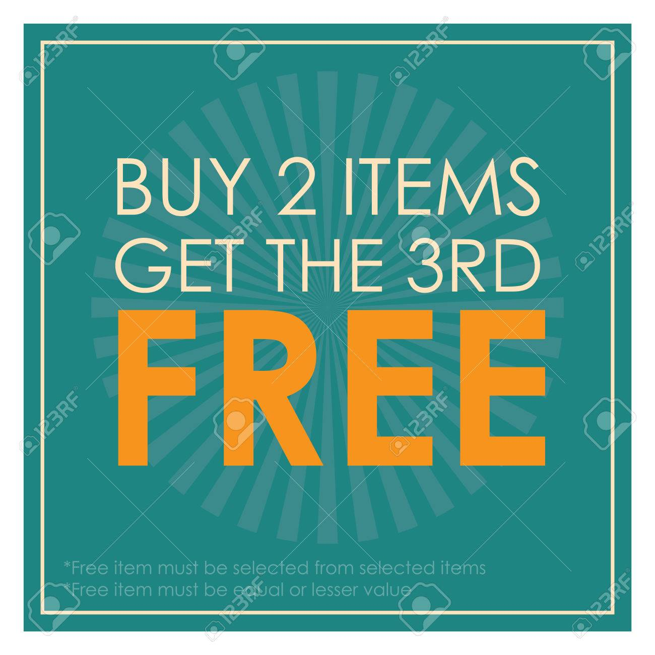 Blue Square Buy 2 Items Get The 3rd Poster Leaflet Handbill 1300x1300