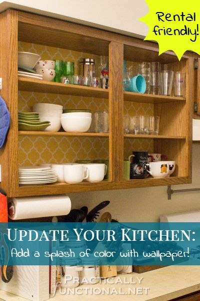 If you want to give your kitchen cabinets a makeover with wallpaper 400x600