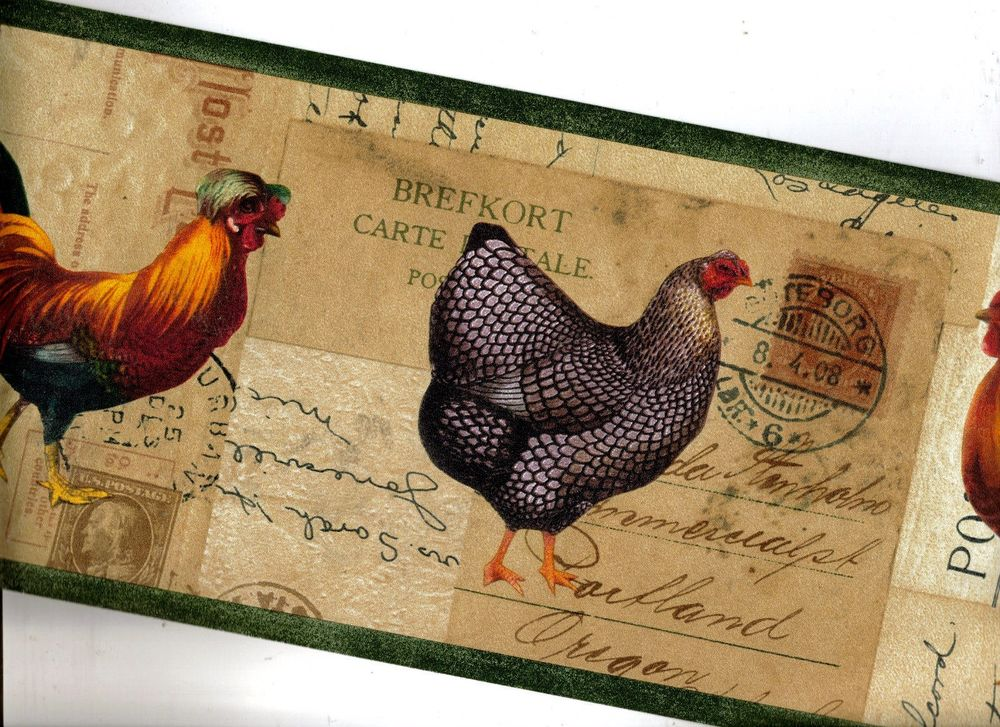 Chicken and Roosters on Postcards Wallpaper Border HRB4044 eBay 1000x727