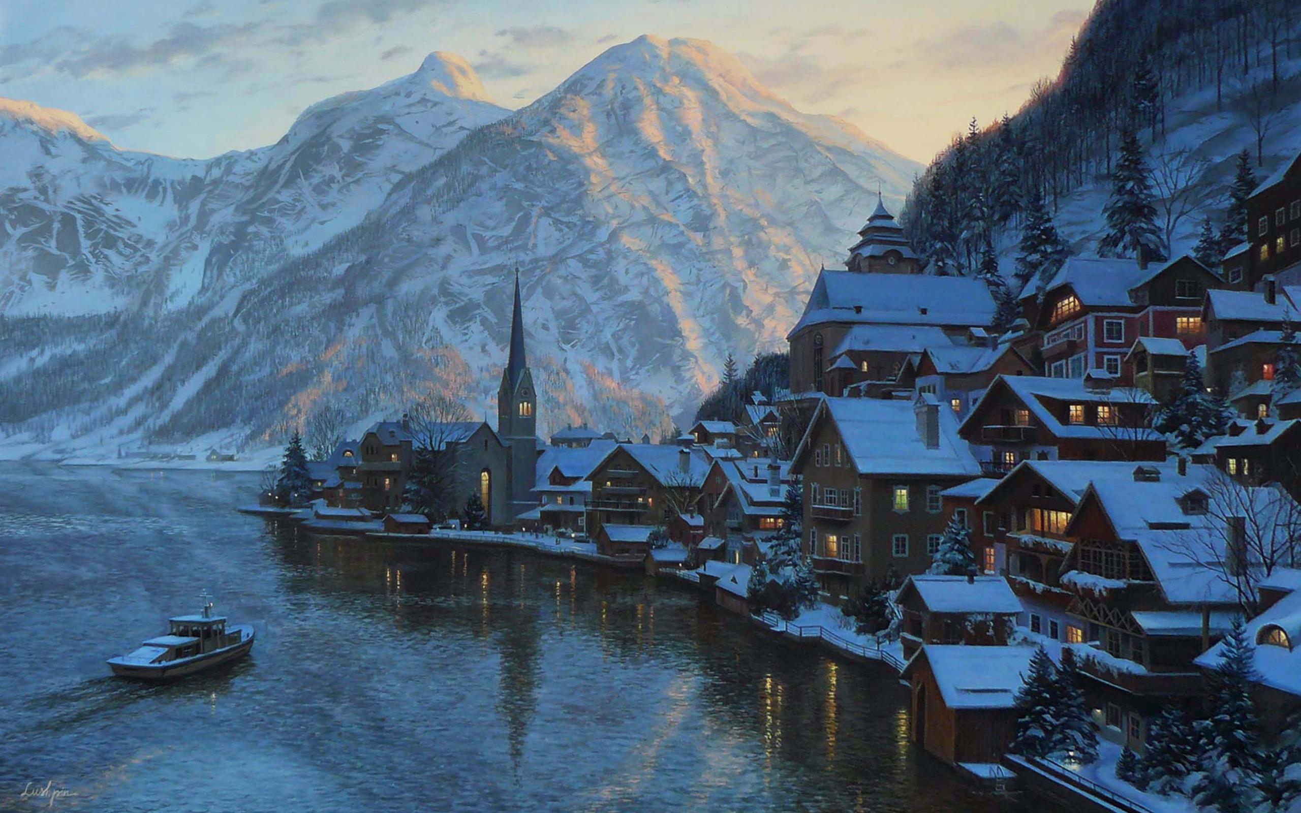 деревня зима горы  № 3188528  скачать