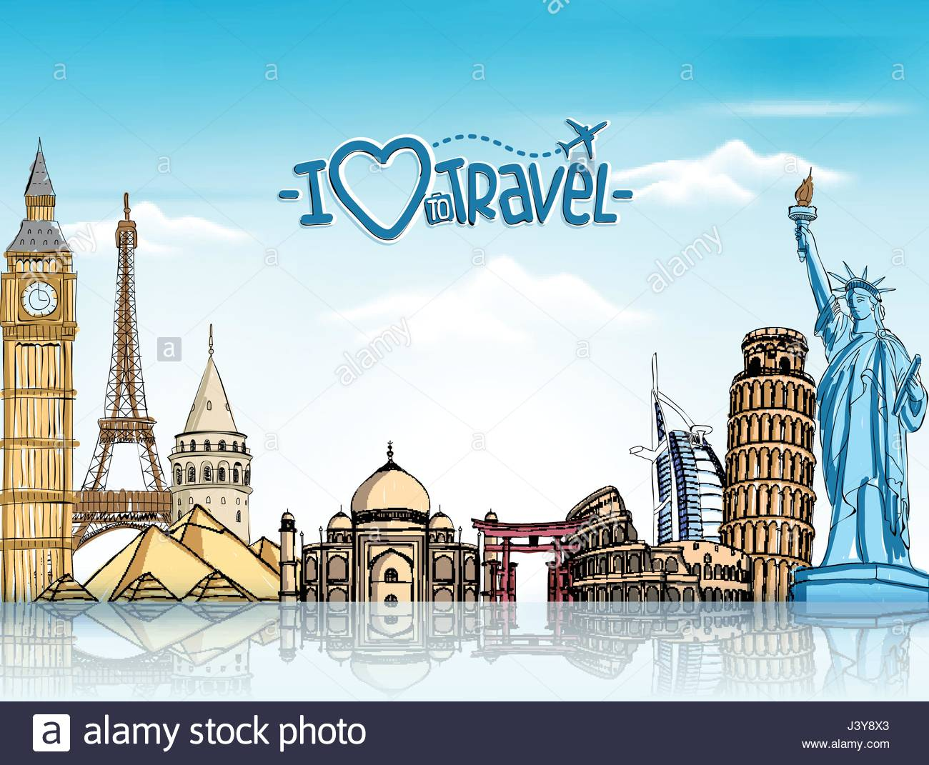Travel and Tourism Vector Background with Famous World Landmarks 1300x1071