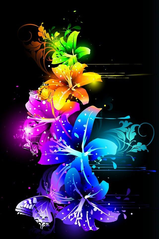 Neon Colors Wallpaper Bright Neon Backgrounds Neon Flowers Pretty 640x960