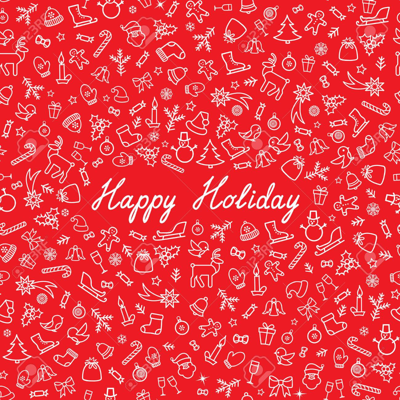 Christmas Icons Seamless Pattern Happy Winter Holiday Wallpaper 1300x1300