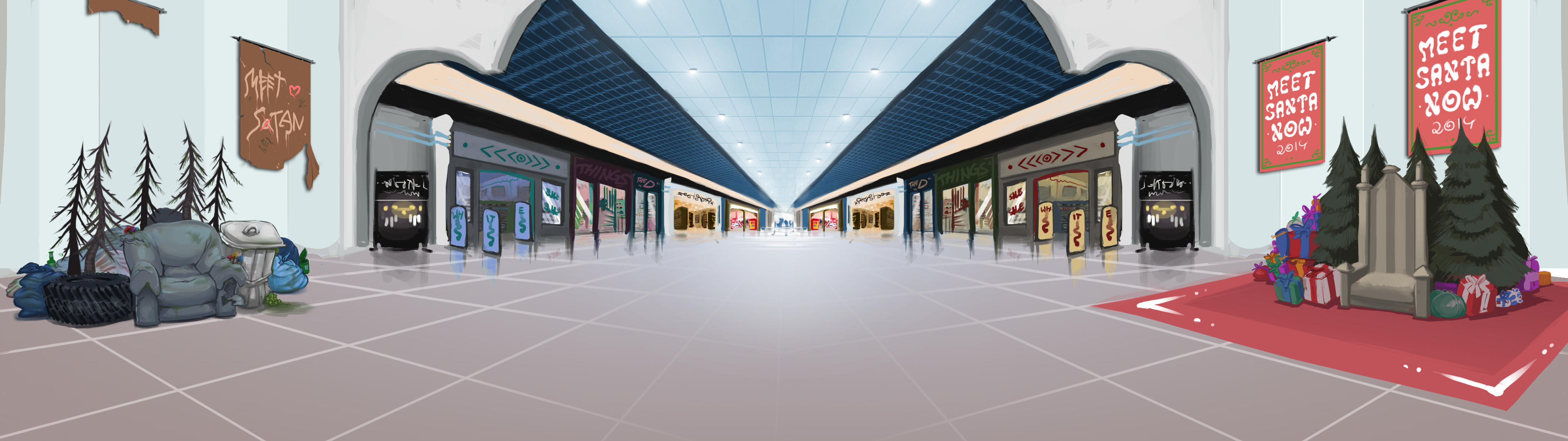 Shopping Mall Background by SpecterWhite on Newgrounds 3840x1080