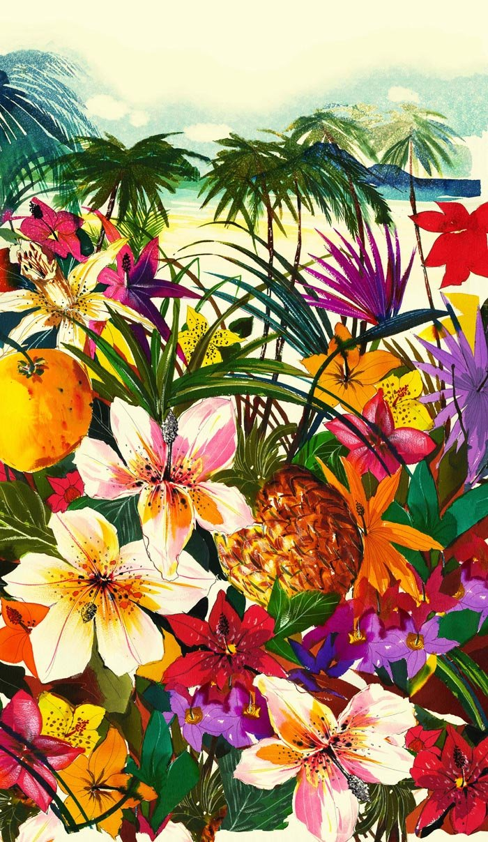 This dreamy tropical print makes us want to pack our bags with warm 700x1207