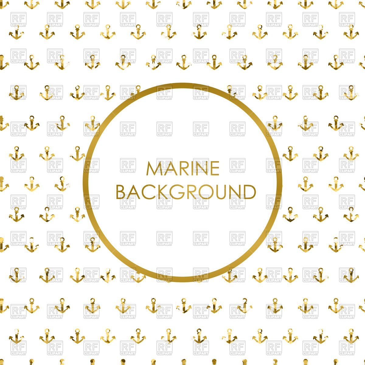 Marine background with gold glitter anchors   Vector Stock Image 1200x1200