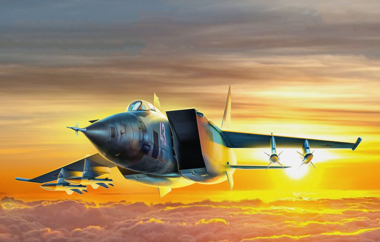 Wallpaper The sun Clouds USSR THE SOVIET AIR FORCE The MiG 25 1332x850