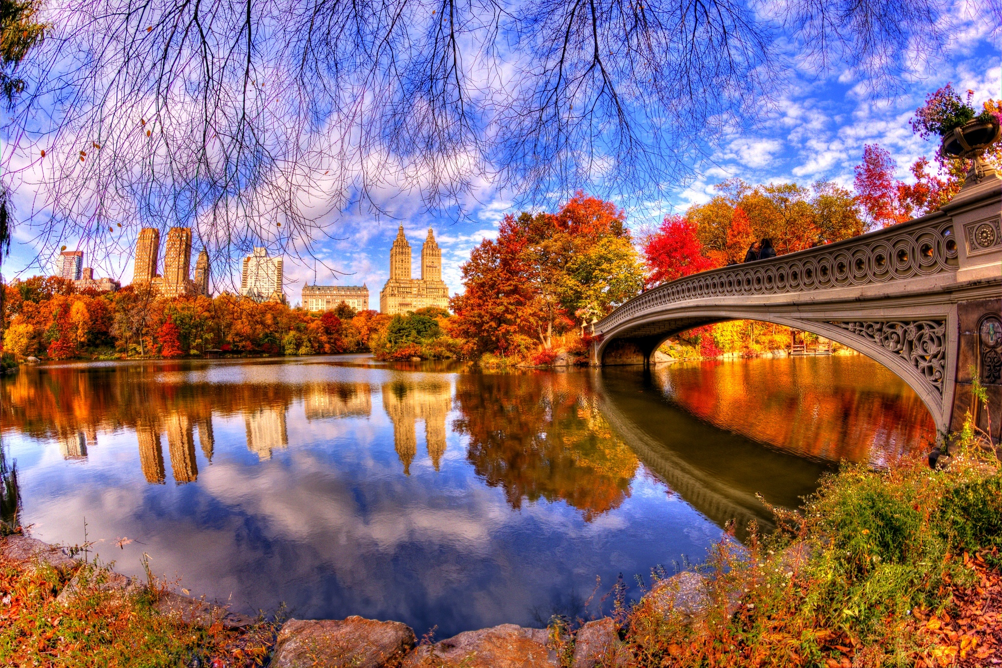 Central Park with blue sky and its image on river surface 2048x1365