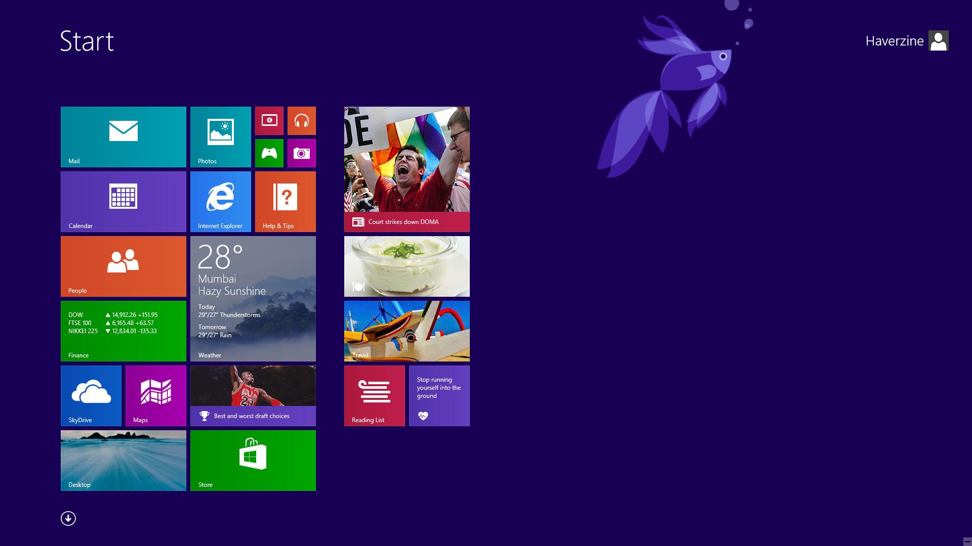 Windows 81 Betta Fish Is Missing From Start Menu Screen Super 1920x1080