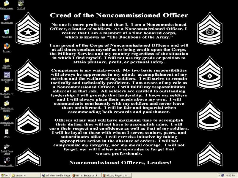 essay on what the nco creed means A great nco sets the standard he is the definition of the creed of the noncommissioned officer he does not require his superiors to ever check up on him, nor do his soldiers ever question his authority.
