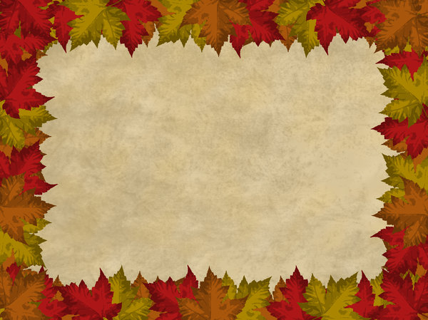 Autumn Leaves Border 2 Autumn leaves border on a parchment background 600x449