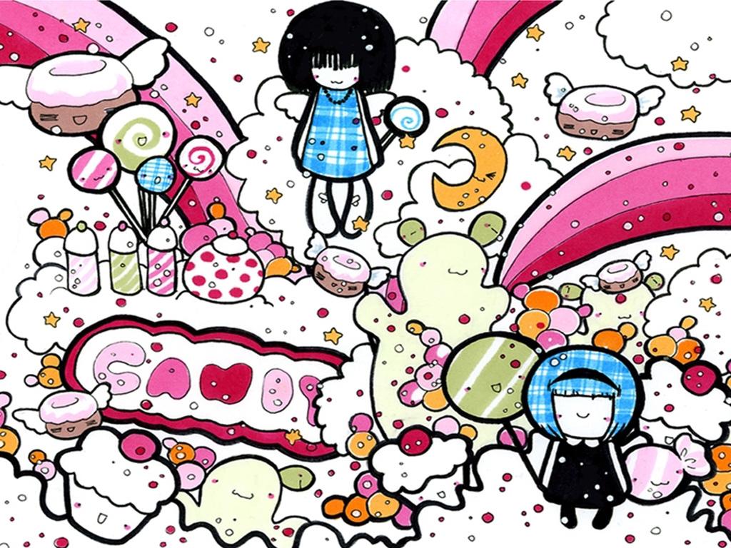 Candy Cartoon Wallpaper Cartoon Wallpaper 1024x768