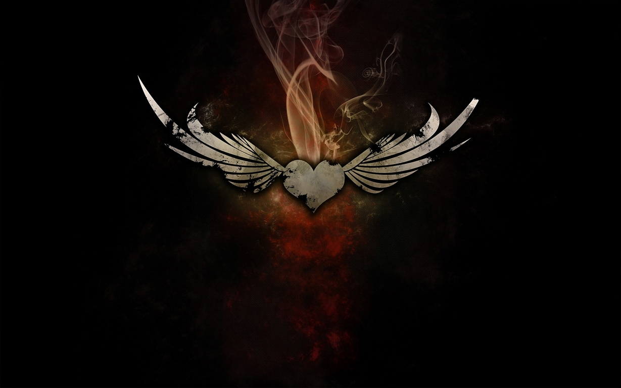 Download Smoking heart with wings wallpaper 1229x768