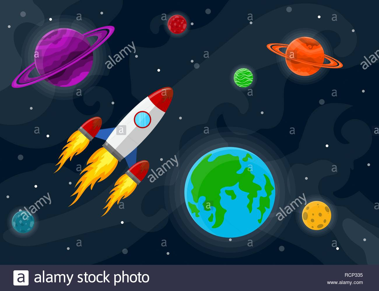 Space pattern with planets stars and rocket Vector illustration 1300x1000