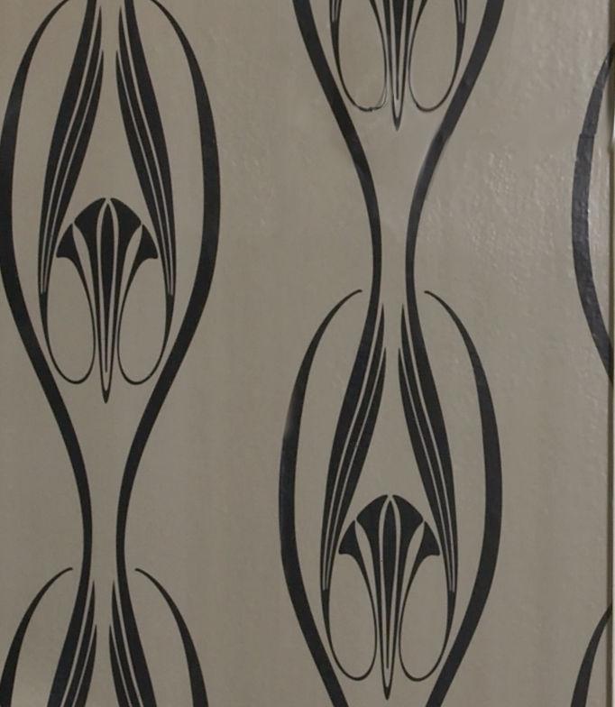 Etta Temporary Wallpaper   Black [Peel 24022] Designer Wallcoverings 682x784