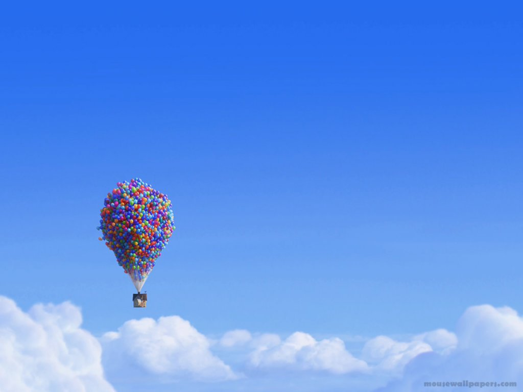 Disney Wallpaper up house ballons normal postcard Disney Wallpaper up 1024x768