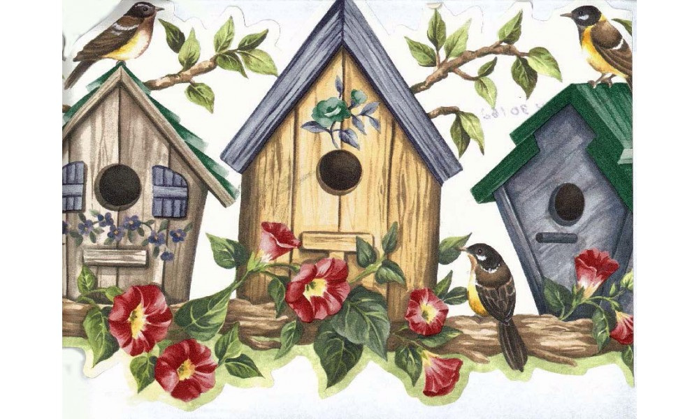 Home Bird Houses Yellow Bird House Wallpaper Border 1000x600