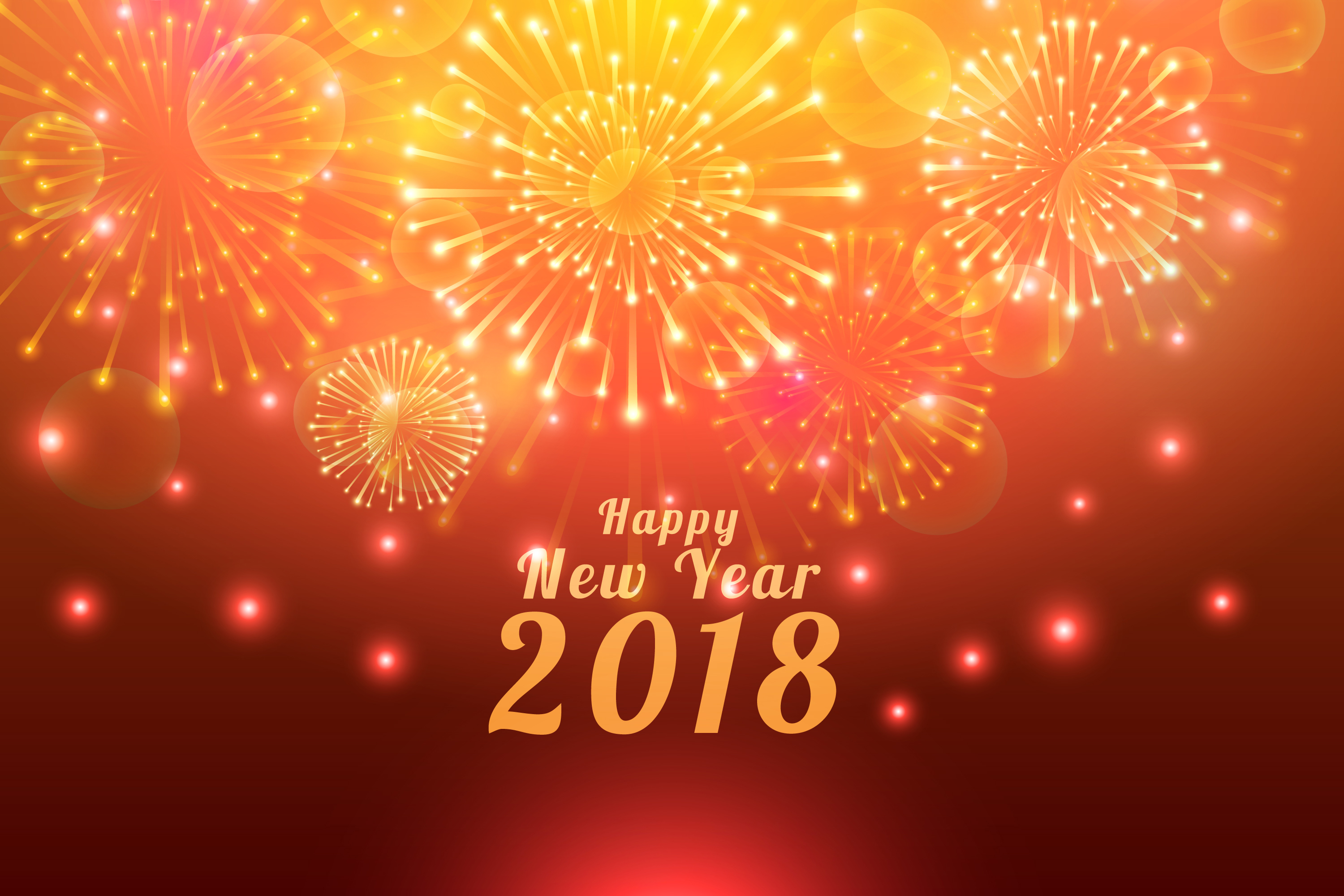 new year 2018 with bright crackers wallpaper download 3000x2000