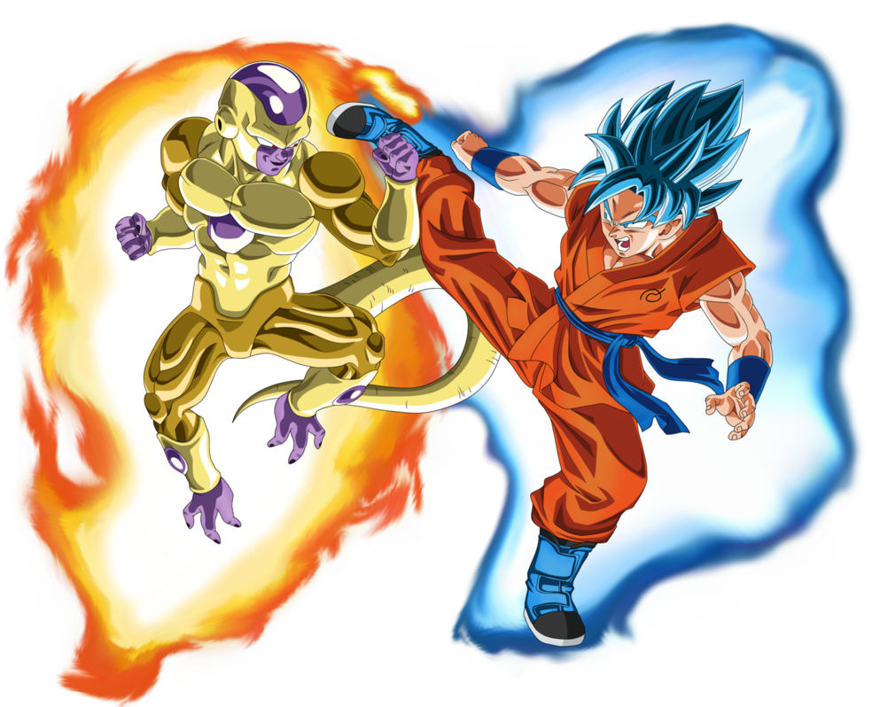 Gold Frieza vs SSGSS Goku Aura by EymSmiley 1002x798