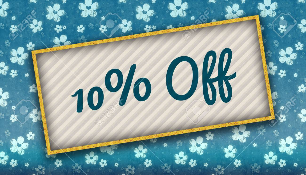 Painting With 10 PERCENT OFF Message On Blue Wallpaper With 1300x742