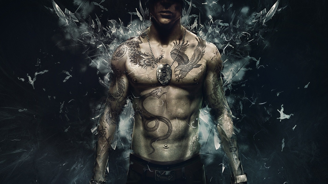 Images Sleeping Dogs Tattoos Man Wei Shen vdeo game 1280x720