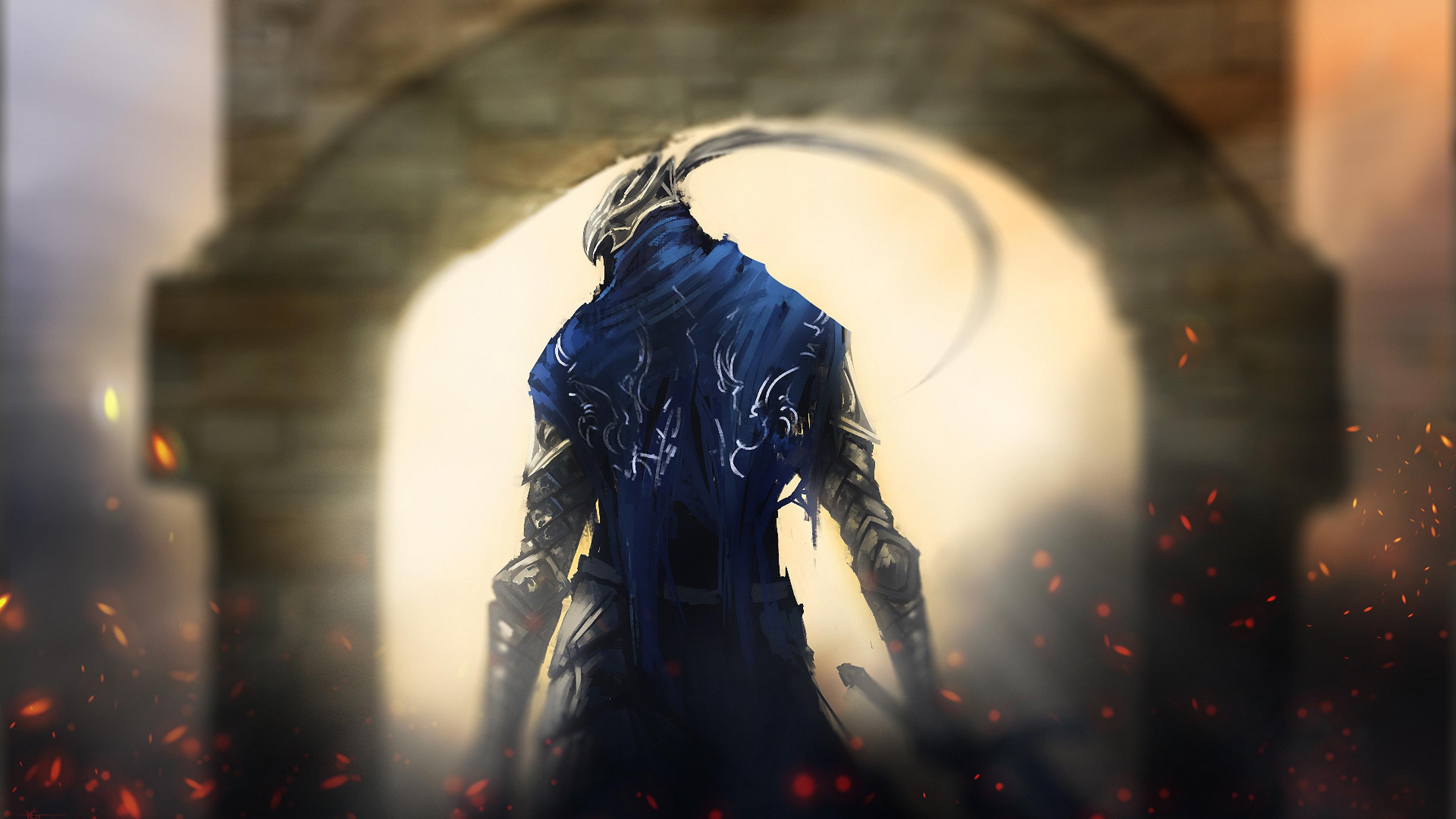 Download Wallpaper 3840x2160 dark souls gates knight art 4K Ultra 3840x2160