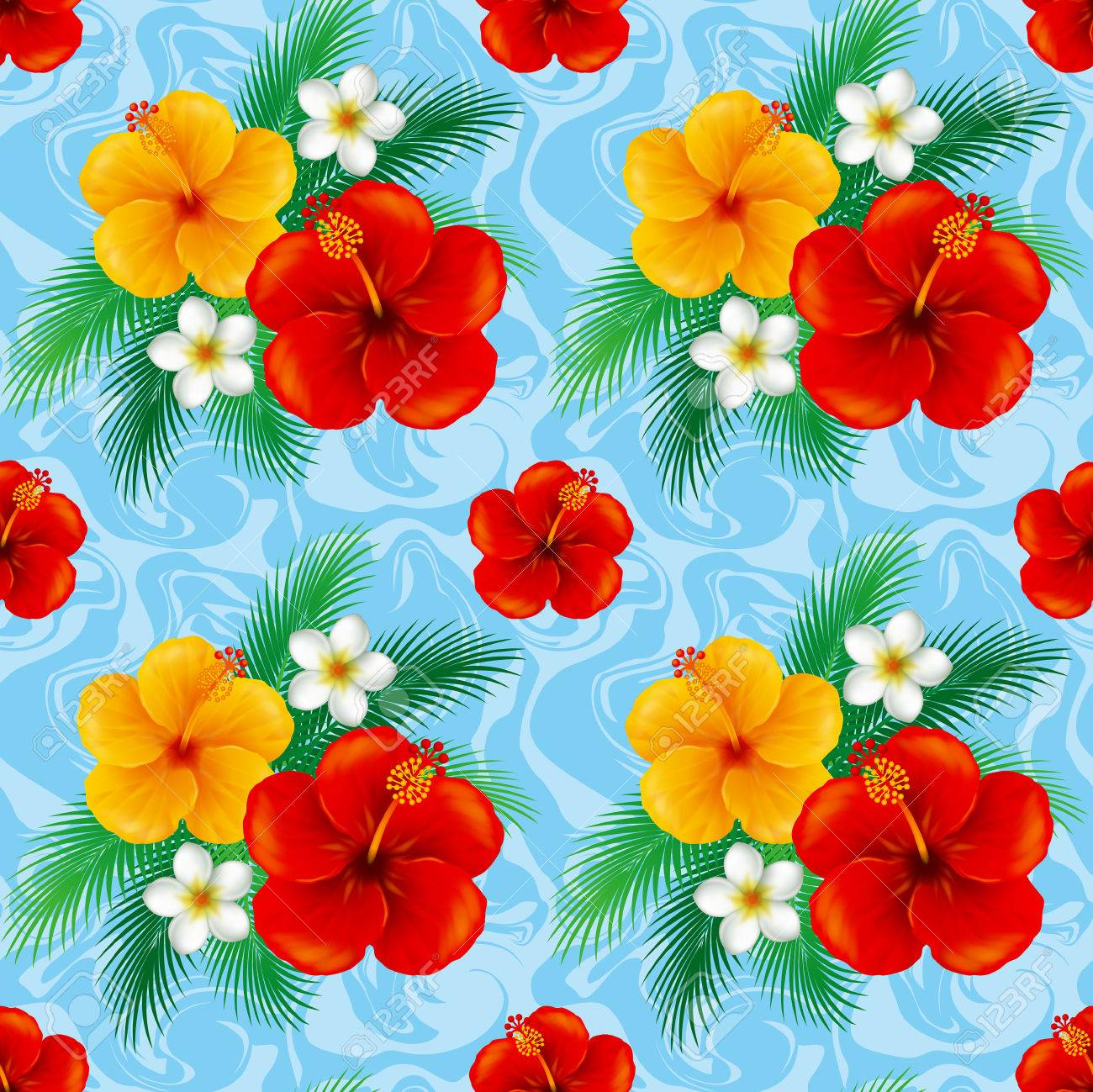 Wallpaper Of Hibiscus IllustrationThe Seamless Pattern Stock 1300x1299